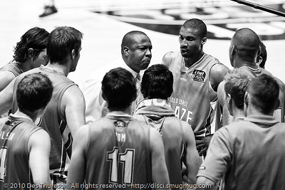"Blaze Head Coach Joey Wright gives his boys ""a spray"". - Gold Coast Blaze v Perth Wildcats NBL Baskeball, New Year's Eve 2010; Gold Coast Convention & Exhibition Centre.  - Kodak BW CN Curve"