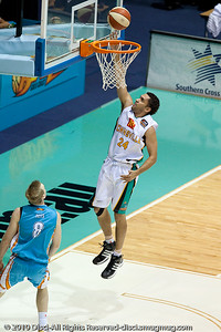 Michael Cedar elevates nicely for the Townsville Crocs - Gold Coast Blaze v Townsville Crocodiles NBL Basketball, Friday 17 December 2010 - National Basketball League, Gold Coast Convention & Exhibition Centre, Queensland, Australia. Photos by Des Thureson.
