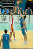 Mark Worthington with the close-out on Cam Tragardh - Gold Coast Blaze v Melbourne Tigers NBL Basketball, Sunday 21 November 2010, GCCEC.