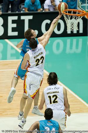 """FOUL!"" - Matt Burston fouls Mark Worthington - Gold Coast Blaze v Melbourne Tigers NBL Basketball, Sunday 21 November 2010, GCCEC."