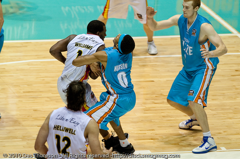 """It was called a block."" - Corey Williams against Darryl Hudson - Gold Coast Blaze v Melbourne Tigers NBL Basketball, Sunday 21 November 2010, GCCEC."