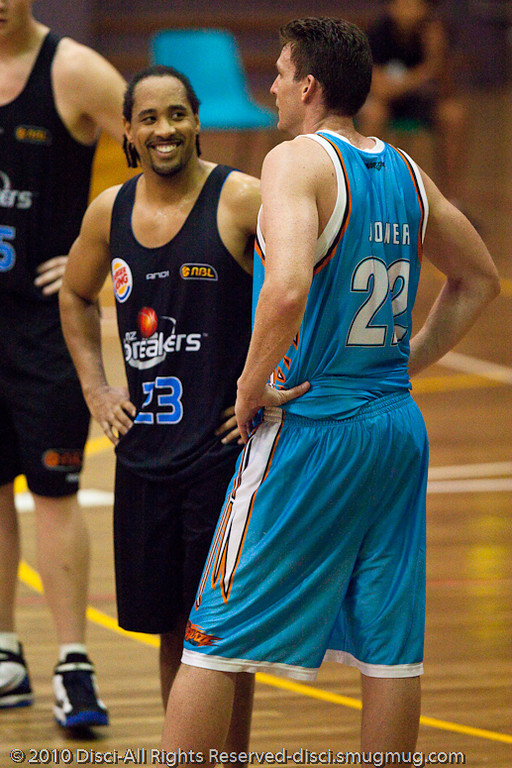 """Aw, we've been direct and upfront with each other, which means..."" - Gold Coast Blaze v New Zealand Breakers NBL basketball pre-season game; 4 October 2010, Carrara Stadium, Gold Coast, Queensland, Australia"