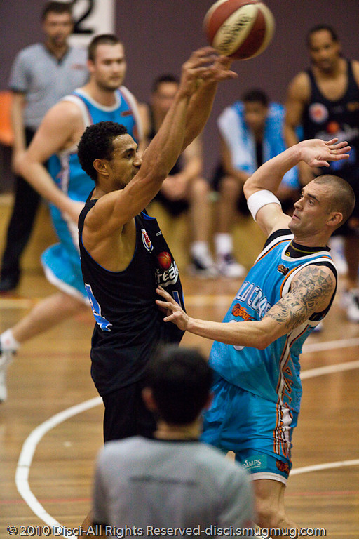 Mika Vukona in offence - Gold Coast Blaze v New Zealand Breakers NBL basketball pre-season game; 4 October 2010, Carrara Stadium, Gold Coast, Queensland, Australia