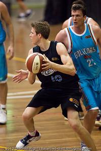 Tom Abercrombie looks for team mates - Gold Coast Blaze v New Zealand Breakers NBL basketball pre-season game; 4 October 2010, Carrara Stadium, Gold Coast, Queensland, Australia