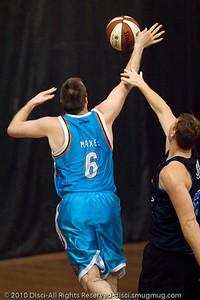 """No call? Really?"" - ""Wortho"" goes inside against Gary Wilkinson - Gold Coast Blaze v New Zealand Breakers NBL basketball pre-season game; 4 October 2010, Carrara Stadium, Gold Coast, Queensland, Australia"