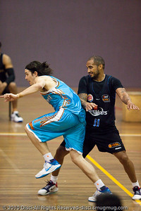 "Chris Goulding (""Bubbles"") looks to ignite a fast break - Gold Coast Blaze v New Zealand Breakers NBL basketball pre-season game; 4 October 2010, Carrara Stadium, Gold Coast, Queensland, Australia"
