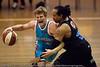 Shaun Gleeson v CJ Bruton - Gold Coast Blaze v New Zealand Breakers NBL basketball pre-season game; 4 October 2010, Carrara Stadium, Gold Coast, Queensland, Australia
