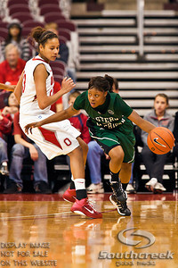 Ohio State University's Freshman Forward Martina Ellerbe (#23) guards Eastern Michigan University's Junior Guard Tavelyn James (#24) in the first period of play at the Value City Arena at The Jerome Schottenstein Center in Columbus, Ohio Sunday afternoon November 14, 2010.   The Lady Buckeyes have been ranked in the Associated Press Top 25 for 116 straight weeks and start their season ranked 7th in both preseason polls.  The Buckeyes lead the Eagles 28-26 at the end of the first period. (© James D. DeCamp / Southcreek Global Media)   All Rights Reserved http://www.southcreekglobal.com   For all sales contact: sales@southcreekglobal.com   1-800-934-5030