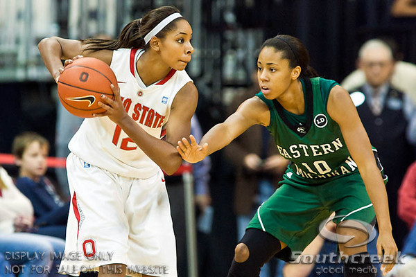 Ohio State University's Senior Guard Alison Jackson (#12) and Eastern Michigan University's Freshman Guard/Forward Natachia Watkins (#10) in the second period of play at the Value City Arena at The Jerome Schottenstein Center in Columbus, Ohio Sunday afternoon November 14, 2010.   The Lady Buckeyes have been ranked in the Associated Press Top 25 for 116 straight weeks and start their season ranked 7th in both preseason polls.  The Buckeyes defeated the Eagles 74-62. (© James D. DeCamp / Southcreek Global Media)   All Rights Reserved http://www.southcreekglobal.com   For all sales contact: sales@southcreekglobal.com   1-800-934-5030