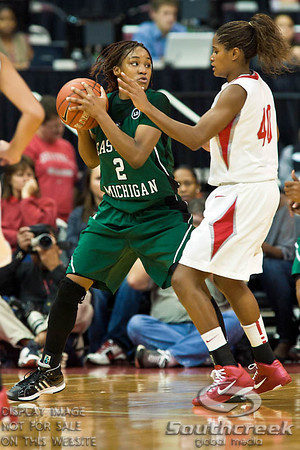 Ohio State University's Senior Guard Brittany Johnson (#40) and Eastern Michigan University's Senior Forward Tara Johnson (#2) in the second period of play at the Value City Arena at The Jerome Schottenstein Center in Columbus, Ohio Sunday afternoon November 14, 2010.   The Lady Buckeyes have been ranked in the Associated Press Top 25 for 116 straight weeks and start their season ranked 7th in both preseason polls.  The Buckeyes defeated the Eagles 74-62. (© James D. DeCamp / Southcreek Global Media)   All Rights Reserved http://www.southcreekglobal.com   For all sales contact: sales@southcreekglobal.com   1-800-934-5030