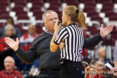 Ohio State University's Head Coach Jim Foster talks with a referee about her call in the second period of play at the Value City Arena at The Jerome Schottenstein Center in Columbus, Ohio Sunday afternoon November 14, 2010.   The Lady Buckeyes have been ranked in the Associated Press Top 25 for 116 straight weeks and start their season ranked 7th in both preseason polls.  The Buckeyes defeated the Eagles 74-62. (© James D. DeCamp / Southcreek Global Media)   All Rights Reserved http://www.southcreekglobal.com   For all sales contact: sales@southcreekglobal.com   1-800-934-5030