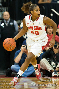 Ohio State University's Senior Guard Brittany Johnson (#40) in the second period of play at the Value City Arena at The Jerome Schottenstein Center in Columbus, Ohio Sunday afternoon November 14, 2010.   The Lady Buckeyes have been ranked in the Associated Press Top 25 for 116 straight weeks and start their season ranked 7th in both preseason polls.  The Buckeyes defeated the Eagles 74-62. (© James D. DeCamp / Southcreek Global Media)   All Rights Reserved http://www.southcreekglobal.com   For all sales contact: sales@southcreekglobal.com   1-800-934-5030
