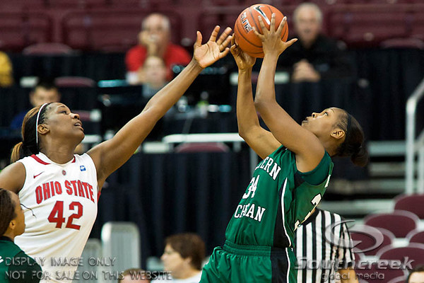 Ohio State University's Senior Center Jantel Lavender (#42) and Eastern Michigan University's Sophomore Center India Hairston (#34) in the second period of play at the Value City Arena at The Jerome Schottenstein Center in Columbus, Ohio Sunday afternoon November 14, 2010.   The Lady Buckeyes have been ranked in the Associated Press Top 25 for 116 straight weeks and start their season ranked 7th in both preseason polls.  The Buckeyes defeated the Eagles 74-62. (© James D. DeCamp / Southcreek Global Media)   All Rights Reserved http://www.southcreekglobal.com   For all sales contact: sales@southcreekglobal.com   1-800-934-5030