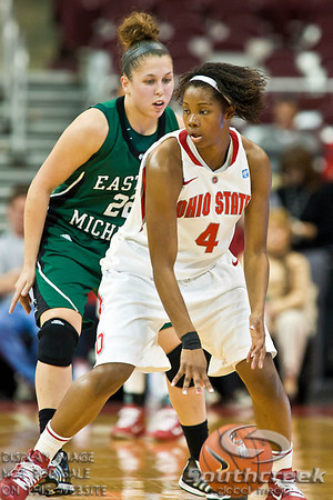 Ohio State University's Sophomore Guard Tayler Hill (#4) and Eastern Michigan University's Senior Guard Cassie Schrock (#22) in the second period of play at the Value City Arena at The Jerome Schottenstein Center in Columbus, Ohio Sunday afternoon November 14, 2010.   The Lady Buckeyes have been ranked in the Associated Press Top 25 for 116 straight weeks and start their season ranked 7th in both preseason polls.  The Buckeyes defeated the Eagles 74-62. (© James D. DeCamp / Southcreek Global Media)   All Rights Reserved http://www.southcreekglobal.com   For all sales contact: sales@southcreekglobal.com   1-800-934-5030