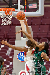 Ohio State University's Senior Guard Brittany Johnson (#40) is up for two as Eastern Michigan University's Senior Forward Kristin Thomas (#25) tries to block her shot in the second period of play at the Value City Arena at The Jerome Schottenstein Center in Columbus, Ohio Sunday afternoon November 14, 2010.   The Lady Buckeyes have been ranked in the Associated Press Top 25 for 116 straight weeks and start their season ranked 7th in both preseason polls.  The Buckeyes defeated the Eagles 74-62. (© James D. DeCamp / Southcreek Global Media)   All Rights Reserved http://www.southcreekglobal.com   For all sales contact: sales@southcreekglobal.com   1-800-934-5030
