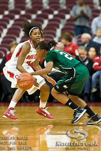 Ohio State University's Sophomore Guard Tayler Hill (#4) and Eastern Michigan University's Junior Guard Tavelyn James (#24) in the first period of play at the Value City Arena at The Jerome Schottenstein Center in Columbus, Ohio Sunday afternoon November 14, 2010. The Buckeyes defeated the Eagles 74-62. (© James D. DeCamp / Southcreek Global Media)   All Rights Reserved http://www.southcreekglobal.com   For all sales contact: sales@southcreekglobal.com   1-800-934-5030