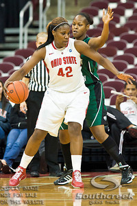 Ohio State University's Senior Center Jantel Lavender (#42) and Eastern Michigan University's Sophomore Center India Hairston (#34) in the second period of play at the Value City Arena at The Jerome Schottenstein Center in Columbus, Ohio Sunday afternoon November 14, 2010.   The Lady Buckeyes have been ranked in the Associated Press Top 25 for 116 straight weeks and start their season ranked 7th in both preseason polls. For the third straight season Lavender was voted the Big Ten Preseason Player of the Year.  The Buckeyes defeated the Eagles 74-62. (© James D. DeCamp / Southcreek Global Media)   All Rights Reserved http://www.southcreekglobal.com   For all sales contact: sales@southcreekglobal.com   1-800-934-5030