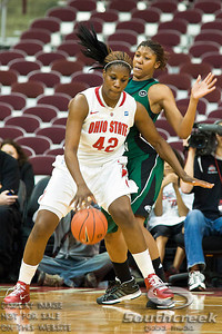 Ohio State University's Senior Center Jantel Lavender (#42) and Eastern Michigan University's Junior Forward Paige Redditt (#32) in the second period of play at the Value City Arena at The Jerome Schottenstein Center in Columbus, Ohio Sunday afternoon November 14, 2010.   The Lady Buckeyes have been ranked in the Associated Press Top 25 for 116 straight weeks and start their season ranked 7th in both preseason polls.  For the third straight season Lavender was voted the Big Ten Preseason Player of the Year. The Buckeyes defeated the Eagles 74-62. (© James D. DeCamp / Southcreek Global Media)   All Rights Reserved http://www.southcreekglobal.com   For all sales contact: sales@southcreekglobal.com   1-800-934-5030