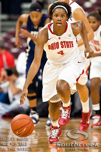 Ohio State University's Sophomore Guard Tayler Hill (#4) in the first period of play at the Value City Arena at The Jerome Schottenstein Center in Columbus, Ohio Monday evening November 22, 2010. The Buckeyes defeated the Lady Bucs 80-47. (© James D. DeCamp / Southcreek Global Media) | All Rights Reserved | http://www.southcreekglobal.com | For all sales contact: sales@southcreekglobal.com | 1-800-934-5030