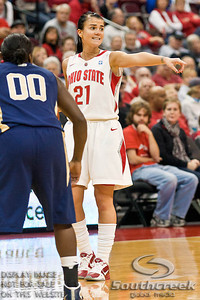 Ohio State University's Junior Guard Samantha Prahalis (#21) and East Tennessee State's Senior Guard Tara Davis (#00) in the first period of play at the Value City Arena at The Jerome Schottenstein Center in Columbus, Ohio Monday evening November 22, 2010. The Buckeyes defeated the Lady Bucs 80-47. This was the first game of the season for Prahalis following her suspension for an NCAA secondary rules violation. (© James D. DeCamp / Southcreek Global Media) | All Rights Reserved | http://www.southcreekglobal.com | For all sales contact: sales@southcreekglobal.com | 1-800-934-5030