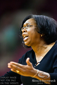 East Tennessee State's Head Coach Karen Kemp in the first period of play at the Value City Arena at The Jerome Schottenstein Center in Columbus, Ohio Monday evening November 22, 2010. The Buckeyes lead the Lady Bucs 36-20 at the end of the first half. (© James D. DeCamp / Southcreek Global Media) | All Rights Reserved | http://www.southcreekglobal.com | For all sales contact: sales@southcreekglobal.com | 1-800-934-5030