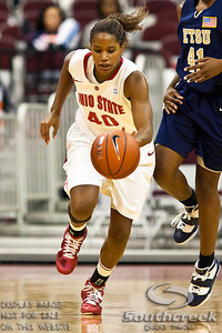 Ohio State University's Senior Guard Brittany Johnson (#40) in the second period of play at the Value City Arena at The Jerome Schottenstein Center in Columbus, Ohio Monday evening November 22, 2010. The Buckeyes defeated the Lady Bucs 80-47 at the end of the first half. (© James D. DeCamp / Southcreek Global Media) | All Rights Reserved | http://www.southcreekglobal.com | For all sales contact: sales@southcreekglobal.com | 1-800-934-5030