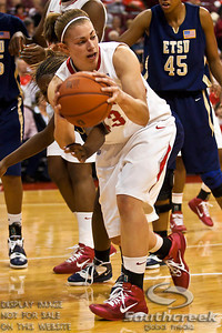 Ohio State University's Senior Forward Sarah Schulze (#43) looks for a teammate to pass to in the first period of play at the Value City Arena at The Jerome Schottenstein Center in Columbus, Ohio Monday evening November 22, 2010. The Buckeyes lead the Lady Bucs 36-20 at the end of the first half. (© James D. DeCamp / Southcreek Global Media) | All Rights Reserved | http://www.southcreekglobal.com | For all sales contact: sales@southcreekglobal.com | 1-800-934-5030