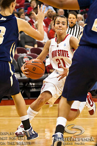 Ohio State University's Junior Guard Samantha Prahalis (#21) fights heavy traffic in the first period of play at the Value City Arena at The Jerome Schottenstein Center in Columbus, Ohio Monday evening November 22, 2010. The Buckeyes lead the Lady Bucs 36-20 at the end of the first half. (© James D. DeCamp / Southcreek Global Media) | All Rights Reserved | http://www.southcreekglobal.com | For all sales contact: sales@southcreekglobal.com | 1-800-934-5030