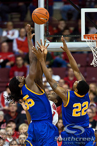 Ohio State University's Freshman Forward Deshaun Thomas (#1), Morehead State University's Senior Forward/Center Kenneth Faried (#35) and Morehead State University's Senior Guard Demonte Harper (#22) vie for a rebound in the second period of play at the Value City Arena at The Jerome Schottenstein Center in Columbus, Ohio Tuesday evening November 23, 2010. The Buckeyes defeated the Eagles 64-45.   (© James D. DeCamp / Southcreek Global Media) | All Rights Reserved |http://www.southcreekglobal.com | For all sales contact: sales@southcreekglobal.com | 1-800-934-5030