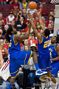 Morehead State University's Senior Forward/Center Kenneth Faried (#35) and Morehead State University's Senior Guard Demonte Harper (#22) vie for a rebound in the second period of play at the Value City Arena at The Jerome Schottenstein Center in Columbus, Ohio Tuesday evening November 23, 2010. The Buckeyes defeated the Eagles 64-45.   (© James D. DeCamp / Southcreek Global Media) | All Rights Reserved |http://www.southcreekglobal.com | For all sales contact: sales@southcreekglobal.com | 1-800-934-5030