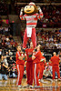 """Ohio State University's Mascot Brutus Buckeye and Ohio State University's Cheerleaders during a time-out in the first period of play at the Value City Arena at The Jerome Schottenstein Center in Columbus, Ohio Friday afternoon November 26, 2010. The Buckeyes defeated the RedHawks 66-45.  (© James D. DeCamp / Southcreek Global Media) 