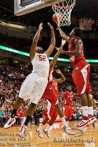 Ohio State University's Senior Forward Dallas Lauderdale (#52) and Miami (OH) University's Senior Forward Nick Winbush (#20) in the first period of play at the Value City Arena at The Jerome Schottenstein Center in Columbus, Ohio Friday afternoon November 26, 2010. The Buckeyes defeated the RedHawks 66-45.  (© James D. DeCamp / Southcreek Global Media) | All Rights Reserved | http://www.southcreekglobal.com | For all sales contact: sales@southcreekglobal.com | 1-800-934-5030