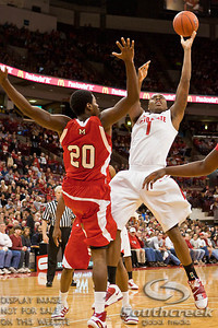 Ohio State University's Freshman Forward Deshaun Thomas (#1) and Miami (OH) University's Senior Forward Nick Winbush (#20) in the first period of play at the Value City Arena at The Jerome Schottenstein Center in Columbus, Ohio Friday afternoon November 26, 2010. The Buckeyes defeated the RedHawks 66-45.  (© James D. DeCamp / Southcreek Global Media) | All Rights Reserved | http://www.southcreekglobal.com | For all sales contact: sales@southcreekglobal.com | 1-800-934-5030