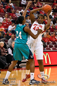Ohio State University's Senior Center Jantel Lavender (#42) and University of North Carolina Wilmington's Sophomore Guard Mya Levels (#34) in the first period of play at the Value City Arena at The Jerome Schottenstein Center in Columbus, Ohio Sunday afternoon November 28, 2010. The Buckeyes defeated the Lady Seahawks 88-69.  Lavender broke an OSU school record for career field goals in Sunday's win with 879.   (© James D. DeCamp / Southcreek Global Media) | All Rights Reserved |http://www.southcreekglobal.com | For all sales contact: sales@southcreekglobal.com | 1-800-934-5030