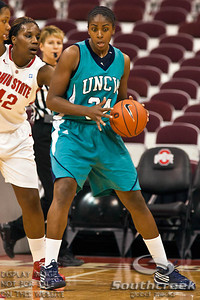 University of North Carolina Wilmington's Sophomore Guard Mya Levels (#34) in the first period of play at the Value City Arena at The Jerome Schottenstein Center in Columbus, Ohio Sunday afternoon November 28, 2010. The Buckeyes defeated the Lady Seahawks 88-69.   (© James D. DeCamp / Southcreek Global Media) | All Rights Reserved |http://www.southcreekglobal.com | For all sales contact: sales@southcreekglobal.com | 1-800-934-5030