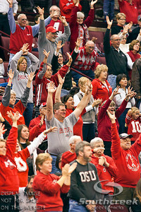 Ohio State University's Fans in the first period of play at the Value City Arena at The Jerome Schottenstein Center in Columbus, Ohio Sunday afternoon November 28, 2010. The Buckeyes defeated the Lady Seahawks 88-69.   (© James D. DeCamp / Southcreek Global Media) | All Rights Reserved |http://www.southcreekglobal.com | For all sales contact: sales@southcreekglobal.com | 1-800-934-5030