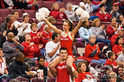 Ohio State University's Cheerleaders before the first period of play at the Value City Arena at The Jerome Schottenstein Center in Columbus, Ohio Sunday afternoon November 28, 2010. The Buckeyes defeated the Lady Seahawks 88-69.   (© James D. DeCamp / Southcreek Global Media) | All Rights Reserved |http://www.southcreekglobal.com | For all sales contact: sales@southcreekglobal.com | 1-800-934-5030
