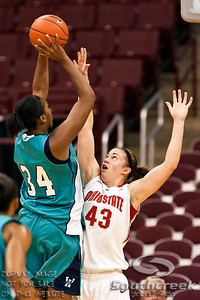 Ohio State University's Senior Forward Sarah Schulze (#43) and University of North Carolina Wilmington's Sophomore Guard Mya Levels (#34) in the first period of play at the Value City Arena at The Jerome Schottenstein Center in Columbus, Ohio Sunday afternoon November 28, 2010. The Buckeyes defeated the Lady Seahawks 88-69.   (© James D. DeCamp / Southcreek Global Media) | All Rights Reserved |http://www.southcreekglobal.com | For all sales contact: sales@southcreekglobal.com | 1-800-934-5030
