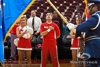 Ohio State University's Cheerleaders at the presentation of the colors before the first period of play at the Value City Arena at The Jerome Schottenstein Center in Columbus, Ohio Sunday afternoon November 28, 2010. The Buckeyes defeated the Lady Seahawks 88-69.   (© James D. DeCamp / Southcreek Global Media) | All Rights Reserved |http://www.southcreekglobal.com | For all sales contact: sales@southcreekglobal.com | 1-800-934-5030