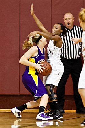 Canal Winchester High School's #31 Tay Stokes guards #22 Briana Wagner during her teams game against Bloom-Carroll High School Friday night December 10, 2010 at Canal Winchester High School. (Photo by James D. DeCamp | http://www.OhioPhotojournalist.com | 614-462-8027)