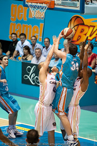 Stephen Hoare is fouled in the act of shooting - Gold Coast Blaze v Cairns Taipans NBL Basketball, Wednesday 19 January 2011; Gold Coast Convention & Exhibition Centre, Broadbeach, Queensland, Australia. Photos by Des Thureson:  http://disci.smugmug.com
