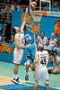 """Ira Clark beats Ian Crosswhite to the hoop - Gold Coast Blaze v Cairns Taipans NBL Basketball, Wednesday 19 January 2011; Gold Coast Convention & Exhibition Centre, Broadbeach, Queensland, Australia. Photos by Des Thureson:  <a href=""""http://disci.smugmug.com"""">http://disci.smugmug.com</a>"""