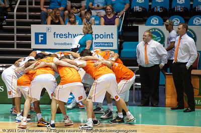 The Taipans' Pre Game huddle - Gold Coast Blaze v Cairns Taipans NBL Basketball, Wednesday 19 January 2011; Gold Coast Convention & Exhibition Centre, Broadbeach, Queensland, Australia. Photos by Des Thureson:  http://disci.smugmug.com