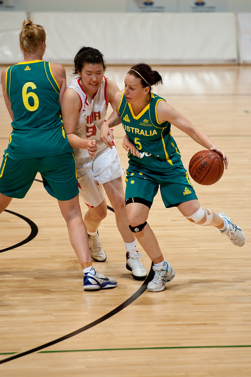 "Rachael Flanagan, Yuan Ding - Opals v China International Women's Basketball, Logan Metro Sports Centre, Crestmead, Queensland, Australia; 24 July 2011. Photos by Des Thureson:  <a href=""http://disci.smugmug.com"">http://disci.smugmug.com</a>."