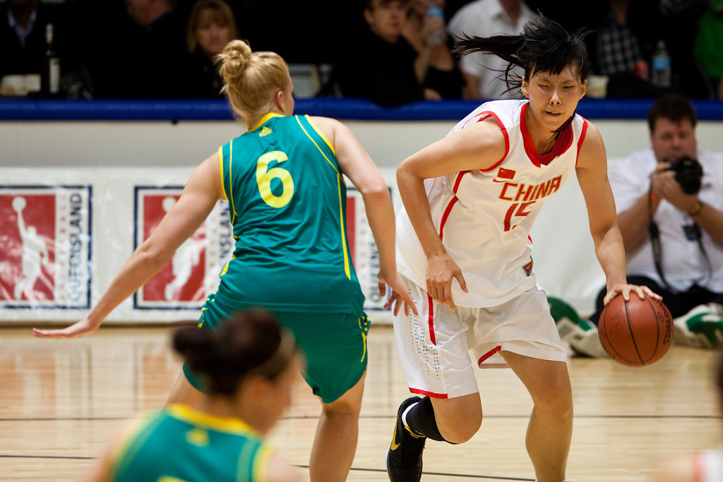 "Abby Bishop, Nan Chen - Opals v China International Women's Basketball, Logan Metro Sports Centre, Crestmead, Queensland, Australia; 24 July 2011. Photos by Des Thureson:  <a href=""http://disci.smugmug.com"">http://disci.smugmug.com</a>."