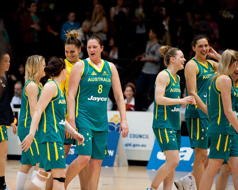 "L to R: Kristen Veal, Jessica Bibby, Rachael Flanagan, Cayla Francis, Suzy Batkovic, Tess Magden, Marianna Tolo, Carly Wilson - Opals v China International Women's Basketball, Logan Metro Sports Centre, Crestmead, Queensland, Australia; 24 July 2011. Photos by Des Thureson:  <a href=""http://disci.smugmug.com"">http://disci.smugmug.com</a>."