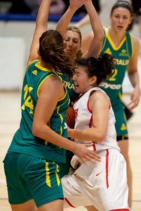 Carly Wilson, Marianna Tolo double team - Opals v China International Women's Basketball, Logan Metro Sports Centre, Crestmead, Queensland, Australia; 24 July 2011. Photos by Des Thureson:  http://disci.smugmug.com.