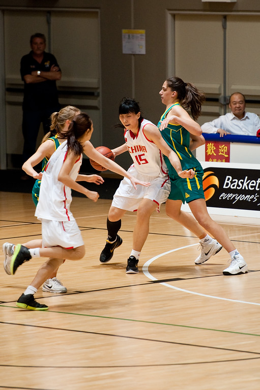 "Marianna Tolo, Nan Chen - Opals v China International Women's Basketball, Logan Metro Sports Centre, Crestmead, Queensland, Australia; 24 July 2011. Photos by Des Thureson:  <a href=""http://disci.smugmug.com"">http://disci.smugmug.com</a>."
