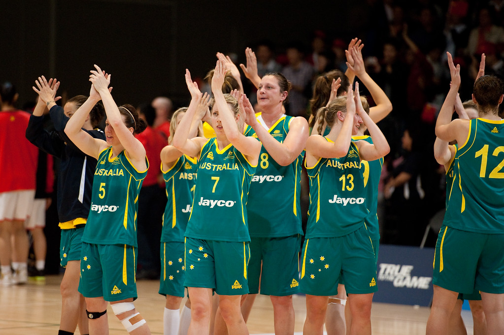 "Team members include Rachael Flanagan, Jessica Bibby, Suzy Batkovic, Tess Madgen, Marianna Tolo, Hanna Zavecz - Opals v China International Women's Basketball, Logan Metro Sports Centre, Crestmead, Queensland, Australia; 24 July 2011. Photos by Des Thureson:  <a href=""http://disci.smugmug.com"">http://disci.smugmug.com</a>."