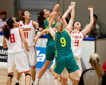 Tess Madgen, Marianna Tolo - Opals v China International Women's Basketball, Logan Metro Sports Centre, Crestmead, Queensland, Australia; 24 July 2011. Photos by Des Thureson:  http://disci.smugmug.com.